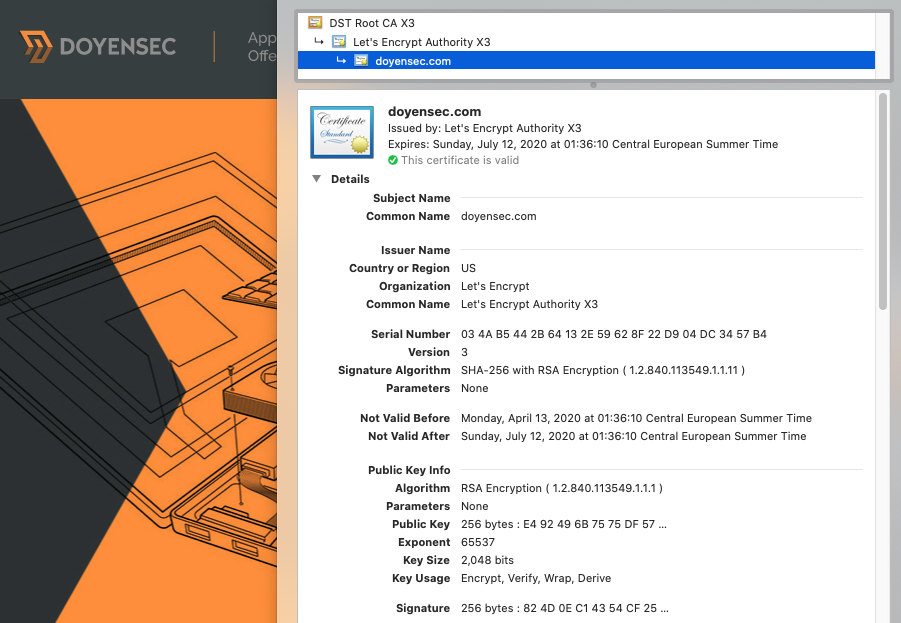 Doyensec X509 certificate