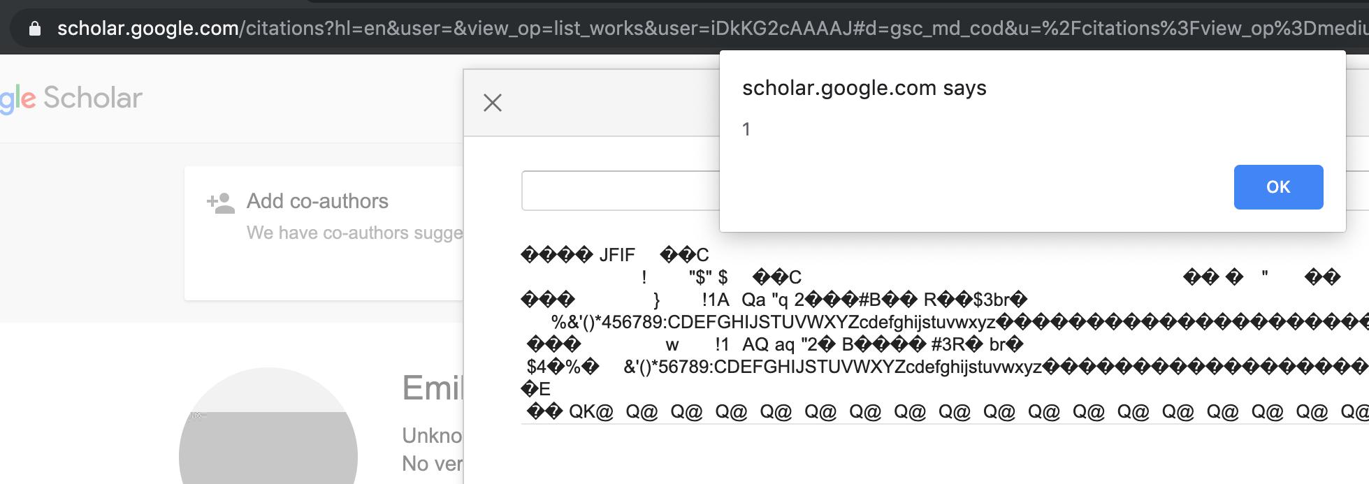Exploitation result of the XSS PoC on Scholar
